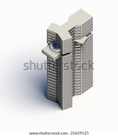 orthographic top view of a modern building - stock photo