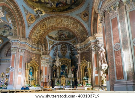 ORTISEI, TRENTINO/ITALY - MARCH 26 : Interior View of the Parish Church in Ortisei in Val Gardena in Italy on March 26, 2016. Unidentified people