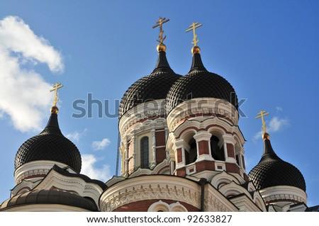 ortodox church Tallin, Alexander Nevsky Cathedral - stock photo