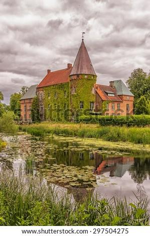 Ortofta slott is a castle in Eslov Municipality, Scania, in southern Sweden. - stock photo