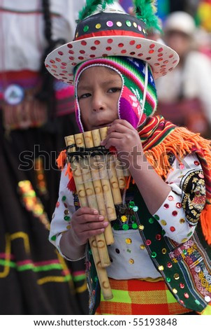ORURO, BOLIVIA - FEBRUARY 2: Oruro Carnival in Bolivia, declared UNESCO Cultural World Heritage. Febraury 2, 2008 in Oruro, Bolivia - stock photo