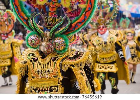 ORURO, BOLIVIA - MARCH 5: Devil Dancers at Oruro Carnival in Bolivia, declared UNESCO Cultural World Heritage. March 5, 2011 in Oruro, Bolivia - stock photo