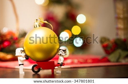 Orvieto, Italy - December  06th 2015: Couple of Star Wars Lego Stormtrooper minifigure make a Chrsistmas tree - stock photo