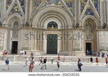 ORVIETO, ITALY-JULY 05, 2014: close up of the medieval Orvieto Duomo cathedral's facade, in Orvieto.