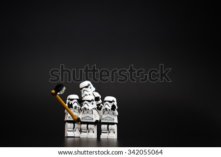 Orvieto, Italy - November 15th 2015: Group o Star Wars Lego Stormtroopers mini figures take a selfie. Lego is a popular line of construction toys.
