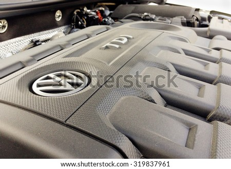 Orvieto, Italy - September 23th 2015: Close up of 	diesel engine  Volkswagen - stock photo