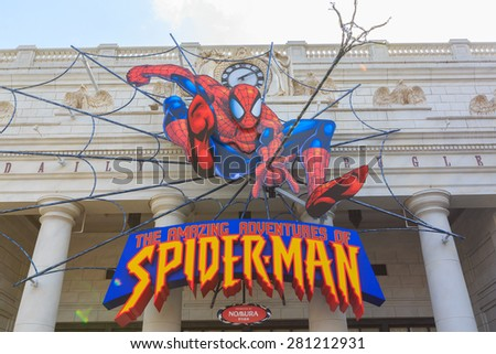 Osaka, Japan - Apr 9: Spiderman ride at Universal Globe outside the Universal Studios Theme Park in Osaka, Japan on Apr 9, 2015. - stock photo