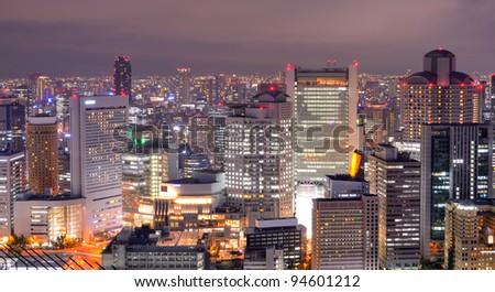 Osaka, Japan at night - stock photo