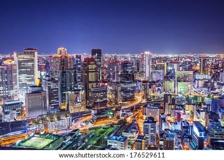 Osaka, Japan city skyline at the landmark Umeda District. - stock photo