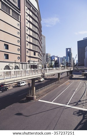 OSAKA, JAPAN - DECEMBER 7, 2015: Intersection in front of Osaka Station on December 7,2015 in Osaka,Japan. - stock photo