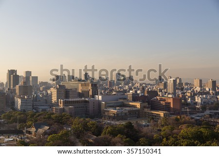 Osaka, Japan - December 10, 2014: Photograph of Osaka skyline taken from the castle.