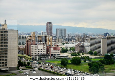 OSAKA, JAPAN - JULY 10 : Aerial view cityscape of Osaka city at around Osaka castle on July 10, 2015 in Osaka, Japan