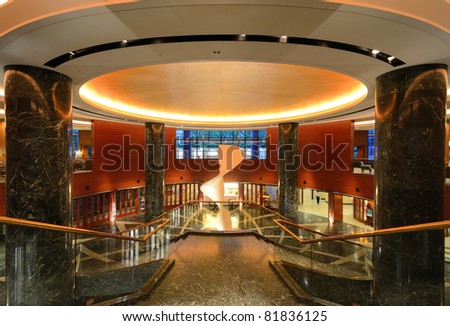 OSAKA, JAPAN - JULY 8: Interior of Hyatt Regency Hotel in Osaka, Japan. Hyatt is an international operator of hotels and the Regency brand is aimed at convention and business travelers. - stock photo