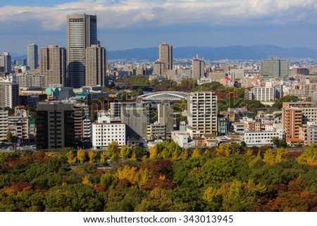 Osaka, Japan - Nov 06, 2015. View of Osaka downtown and Osaka Business Park in the autumn. The GDP in the greater Osaka area is $341 billion.