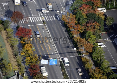 OSAKA, JAPAN-NOVEMBER 11, 2014; Birdview of street in Rinku-Town with cars driving on the left. November 11, 2014,Osaka, Japan