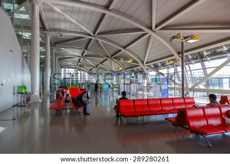OSAKA, JAPAN - OCTOBER 30: Kansai International Airport in Osaka, Japan on October 30, 2014. An international airport located on an artificial island in the middle of Osaka Bay - stock photo