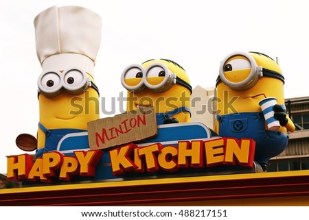 "OSAKA, JAPAN - SEP 24, 2016 : Photo of ""HAPPY MINION KITCHEN"" shop, selling Minion Chinese buns, located in Universal Studios, Osaka, Japan. Minions are famous character from Despicable Me animation."
