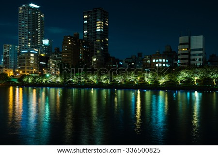 OSAKA, JAPAN - SEPTEMBER 21, 2015: Ohkawa riverside at night, Osaka.