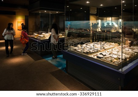 OSAKA, JAPAN - SEPTEMBER 22, 2015: Showroom in Osaka Museum of Housing and Living. Introduce llfestyles of Osaka during Meiji, Taisho and Showa periods(1868-1950), through models and pictures. - stock photo