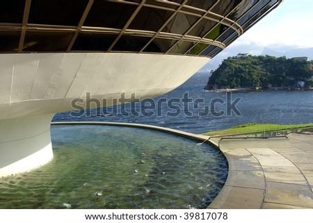 Oscar Niemeyer's Niteroi Contemporary Art Museum, in Rio de Janeiro, Brazil - stock photo