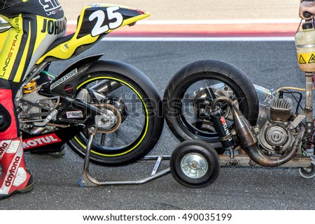 OSCHERSLEBEN GERMANY - AUGUST 26.-28, 2016: German Speedweek. 8 h Endurance Race, Starter for a Racing Motorbike
