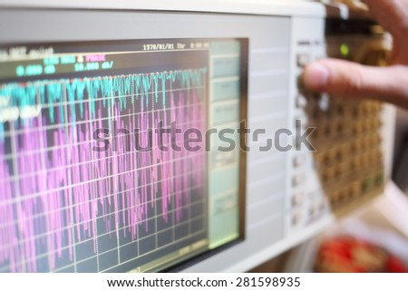 Oscilloscope is a device for the study of the electrical signal - stock photo
