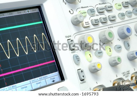 Oscilloscope with sine wave
