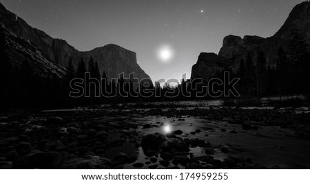 osemite National Park Valley View Moonrise - stock photo