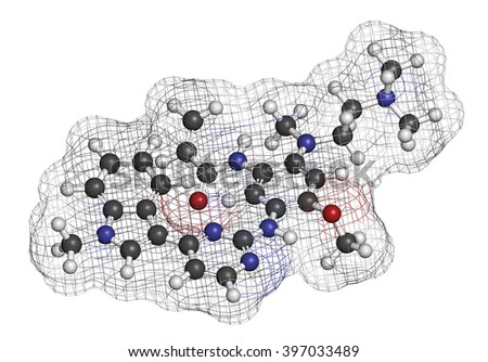 Osimertinib cancer drug molecule. 3D rendering. Atoms are represented as spheres with conventional color coding: hydrogen (white), carbon (grey), oxygen (red), nitrogen (blue). - stock photo