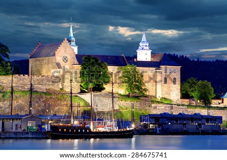 Oslo, Akershus at night - stock photo