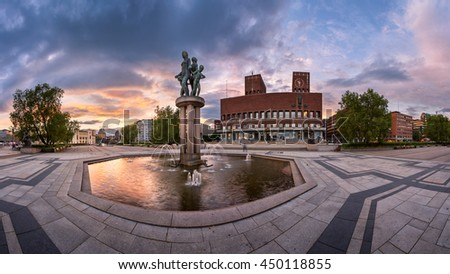 Oslo City Hall in the Evening, Oslo, Norway