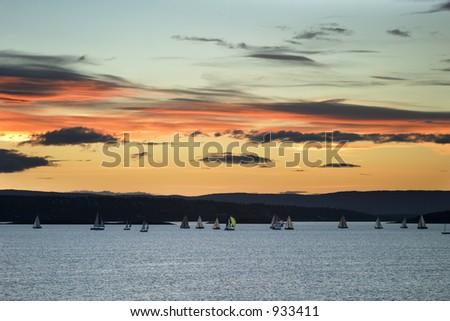 Oslo Fjord at sunset - stock photo