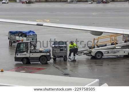 OSLO GARDERMOEN, NORWAY -  NOVEMBER 3:Aircrafts  at Oslo Gardermoen International Airport on november 3, 2014 in Oslo. The airport has biggest passenger flow in Norway. - stock photo