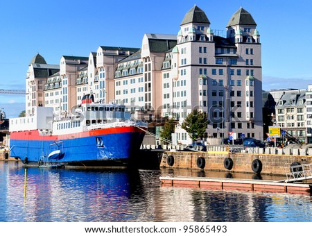 Oslo harbor - stock photo