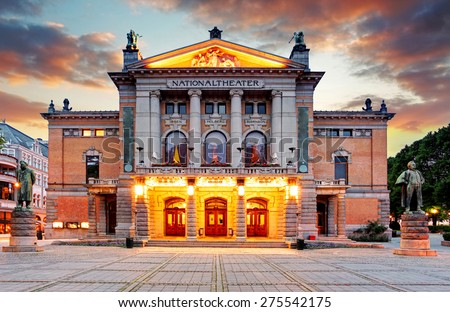 Oslo National theatre, Norway - stock photo