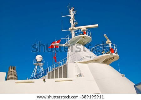 OSLO, NORWAY - APRIL 12, 2010: Mast of the ferry DFDS SEAWAYS Company with flag travelling to Denmark