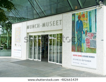 OSLO, NORWAY - AUGUST 28, 2016: Jasper Johns and Edvard Munch exhibition in The Munch Museum in Oslo.