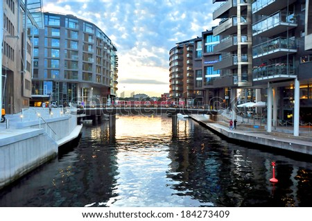 OSLO, NORWAY - AUGUST 16: The waterfront in the port of Oslo on August 16, 2012 in Oslo, Norway.