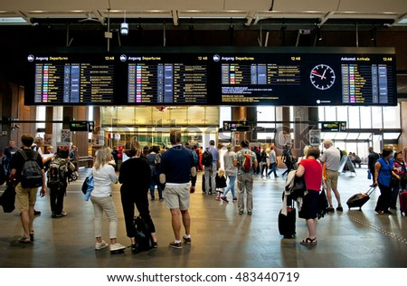 OSLO, NORWAY - AUGUST 27, 2016: Travelers at the Oslo S - Oslo Central Station.