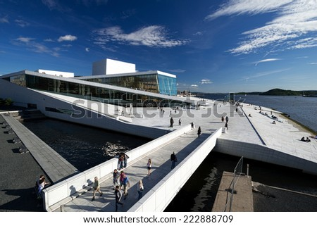OSLO, NORWAY - AUGUST 11: View on a side of the National Oslo Opera House on August 11, 2012 in Oslo, Norway, which was opened on April 12, 2008 - stock photo