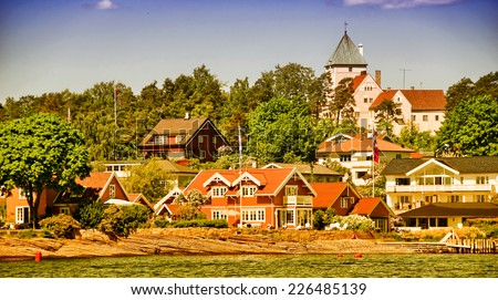 Oslo, Norway. Beautiful city architecture and colors in summer season. - stock photo