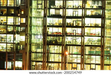 OSLO, NORWAY - DECEMBER 16, 2011: Architectural detail of modern office building at night - stock photo