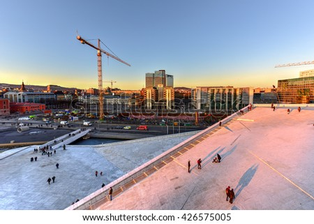 Oslo, Norway - February 27, 2016: The Oslo Opera House, home of The Norwegian National Opera and Ballet and the national opera theatre. It is situated in the Bjorvika neighborhood of central Oslo.