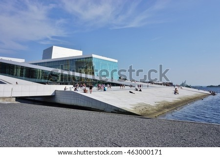 OSLO, NORWAY -30 JULY 2016- Built in 2007 to resemble a glacier, the Oslo Opera House houses the Norwegian National Opera and Ballet.
