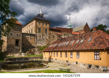 Oslo, Norway - July 18, 2016: Exterior of Akershus Fortress in Oslo, Norway. Akershus Fortress or Akershus Castle  is a medieval castle that was built to protect Oslo, the capital of Norway