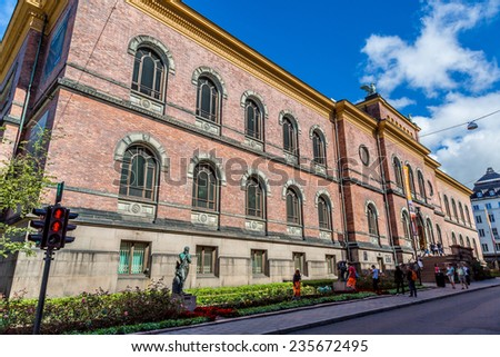 OSLO, NORWAY - JULY 29: The National Gallery is a gallery. Since 2003 it is administratively a part of the National Museum of Art, Architecture and Design in Norway in Oslo, on July 29, 2014 - stock photo