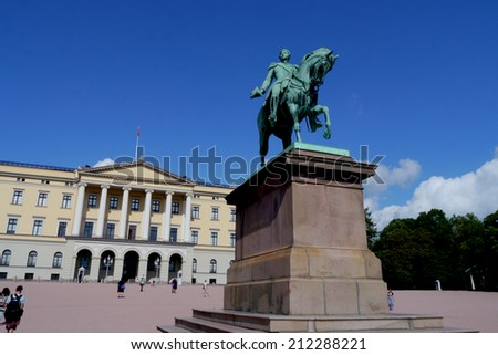 Oslo, Norway - 28 July 2014 : The Royal Palace in Oslo is a landmark and prime tourist attraction of Norway's capital city.