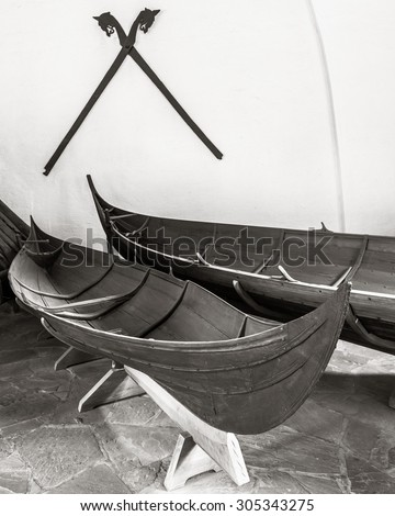 OSLO, NORWAY - JULY, 7: Viking longboat in the Viking museum on July 7, 2015 in Oslo, Norway. - stock photo