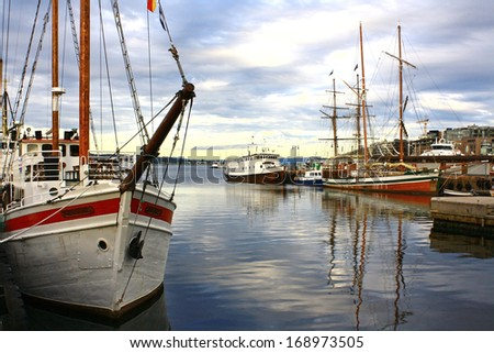 OSLO, NORWAY - JUNE 28, 2012: Vintage sailing ships at berth 28 June 2012 in Oslo, Norway. Oslo is located on the northern shore of the Oslo Fjord. - stock photo