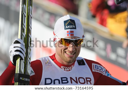 OSLO NORWAY - MARCH 6: FIS Nordic World Ski Championship, Petter Nortug winner of the 50 km cross country and world champion  Holmenkollen, Oslo March 6, 2011 in Oslo, Norway
